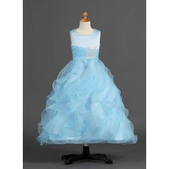 Stunning Ankle-length A-Line/Princess Flower Girl Dresses Scoop Neck Organza/Satin Sleeveless