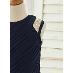 Forme Princesse Longueur genou Robes à Fleurs pour Filles - Mousseline Sans manches Col rond avec Brodé/Plissée (010122569)