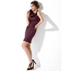 Glamuroso Escote redondo Vestido tubo Satén Vestidos de madrina (008211337)