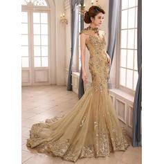 Flattering Tulle Evening Dresses Trumpet/Mermaid Court Train High Neck Sleeveless