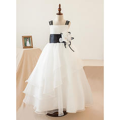 A-Line/Princess Floor-length Flower Girl Dress - Organza Sleeveless Square Neckline With Flower(s)