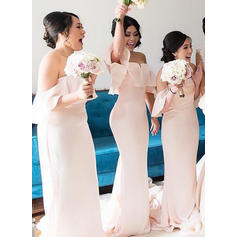 Trumpet/Mermaid Cascading Ruffles Chiffon Sleeveless Bridesmaid Dresses