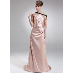 Glamorous Off-the-Shoulder Sheath/Column Charmeuse Evening Dresses (017201165)