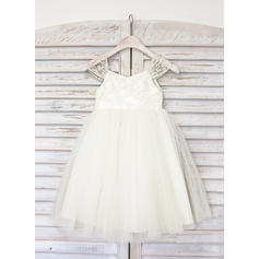Straps A-Line/Princess Flower Girl Dresses Tulle Lace Sleeveless Knee-length
