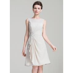 Vestidos princesa/ Formato A Decote redondo Coquetel Tecido de seda Vestido para a mãe da noiva com Beading Apliques de Renda lantejoulas (008080178)