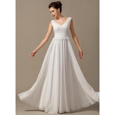Vestidos princesa/ Formato A Decote V Longos Tecido de seda Vestido de noiva com Curvado Babados em cascata (002068150)