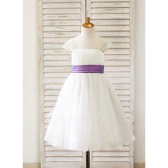 Straps A-Line/Princess Flower Girl Dresses Sash Sleeveless Tea-length (010210133)