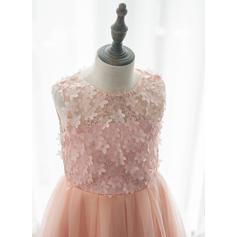Corte A/Princesa Hasta la tibia Vestidos de Niña Florista - Tul/Encaje Sin mangas Escote redondo (010164749)