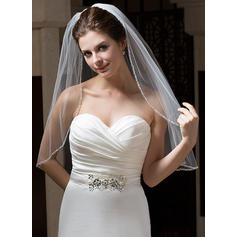 Elbow Bridal Veils Tulle One-tier Classic/Mantilla With Pencil Edge Wedding Veils