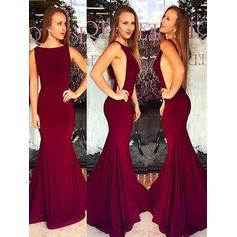Trumpet/Mermaid Satin Prom Dresses Scoop Neck Sleeveless Sweep Train