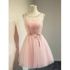 A-Line/Princess Scoop Neck Short/Mini Cocktail Dresses With Beading Bow(s)
