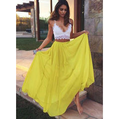 A-Line/Princess Chiffon Prom Dresses Lace V-neck Sleeveless Floor-Length (018210358)