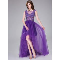 A-Line/Princess Tulle Prom Dresses Beading Appliques Lace Flower(s) Sequins Scoop Neck Sleeveless Asymmetrical (018041121)