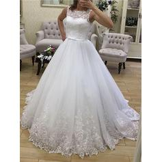 Scoop Ball-Gown Wedding Dresses Tulle Lace Appliques Lace Sleeveless Court Train (002213544)