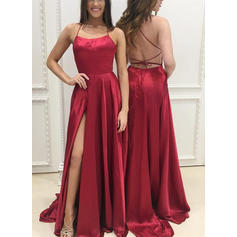 A-Line/Princess Square Neckline Sweep Train Evening Dresses With Split Front
