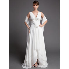 Lace Beading Sequins Cascading Ruffles V-neck Simple Chiffon Mother of the Bride Dresses