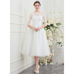 A-Line Illusion Tea-Length Organza Wedding Dress With Beading
