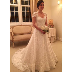 Sweetheart Ball-Gown Wedding Dresses Lace Short Sleeves Court Train (002144823)