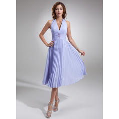 Chiffon Sleeveless A-Line/Princess Bridesmaid Dresses Halter Beading Pleated Knee-Length