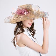 Ladies ' Gorgeous Bomuld/Netto garn med Silke Blomst Diskette Hat