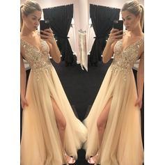 A-Line/Princess V-neck Floor-Length Prom Dresses With Beading Appliques Lace Split Front