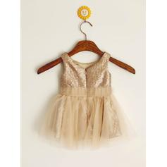Escote redondo Corte A/Princesa Vestidos para niña de arras Tul/Con lentejuelas Plisado Sin mangas Corto/Mini (010212031)