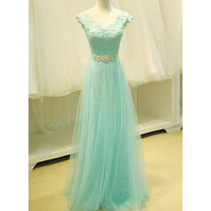 Tulle Sleeveless A-Line/Princess Prom Dresses V-neck Lace Beading Sequins Floor-Length