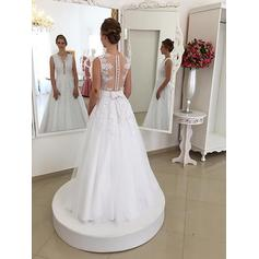 Lace Sash Beading Sleeveless Trumpet/Mermaid - Tulle Wedding Dresses (002147985)