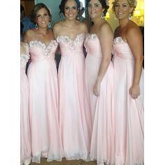 A-Line/Princess Sweetheart Floor-Length Bridesmaid Dresses With Ruffle Beading Flower(s) (007218562)