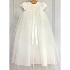 Tulle Col rond Robes de baptême bébé fille avec Manches courtes (2001216810)