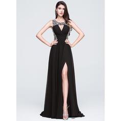 Vestidos princesa/ Formato A Decote redondo Sweep/Brush trem Tecido de seda Vestido de baile com Beading lantejoulas Frente aberta (018070391)