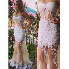 Trumpet/Mermaid Scoop Neck Tulle Sleeveless Floor-Length Appliques Lace Evening Dresses