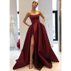 Ball-Gown Strapless Satin Sleeveless Sweep Train Ruffle Split Front Evening Dresses