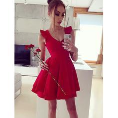 A-Line/Princess Ruffle Homecoming Dresses V-neck Sleeveless Short/Mini