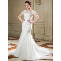 Tulle Lace Trumpet/Mermaid Newest Sequins Wedding Dresses (002040677)