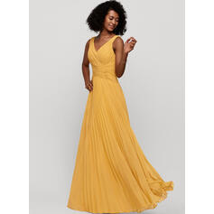A-Line V-neck Floor-Length Chiffon Evening Dress With Pleated (017209141)