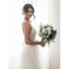 Simple Tulle Wedding Dresses A-Line/Princess Sweep Train Halter Sleeveless