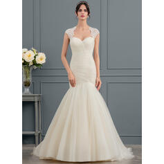 Trumpet/Mermaid Sweetheart Court Train Tulle Wedding Dress With Ruffle (002153458)