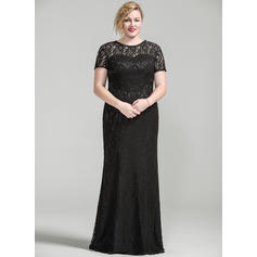 Trumpet/Mermaid Lace Short Sleeves Scoop Neck Floor-Length Zipper Up Mother of the Bride Dresses