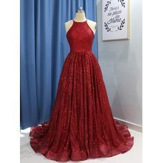 Escote redondo Con lentejuelas con Delicado Vestidos de noche (017217866)