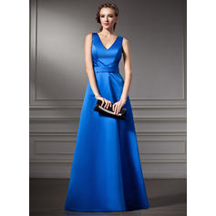 A-Line/Princess Satin Bridesmaid Dresses Ruffle V-neck Sleeveless Floor-Length