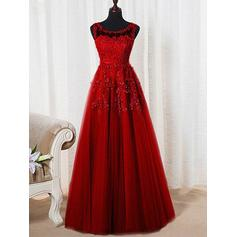 A-Line/Princess Tulle Prom Dresses Beading Scoop Neck Sleeveless Floor-Length