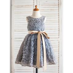 Forme Princesse Longueur genou Robes à Fleurs pour Filles - Dentelle Sans manches Col rond avec Ceintures/Fleur(s)