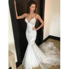 Trumpet/Mermaid Deep V Neck Tulle Lace - Sexy Wedding Dresses (002144906)