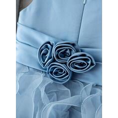 Robe Marquise/Robe Empire Longueur ras du sol Robes à Fleurs pour Filles - Organza Sans manches Col rond avec Fleur(s) (010093386)
