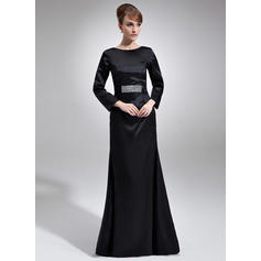 Sheath/Column Charmeuse Long Sleeves Scoop Neck Floor-Length Zipper Up Mother of the Bride Dresses
