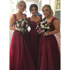 A-Line/Princess Sweetheart Floor-Length Bridesmaid Dresses With Appliques Lace