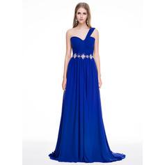 Gasa Tirantes comunes Un hombro Corte A/Princesa Vestidos de baile de promoción (018056771)