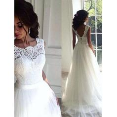 A-Line/Princess Lace Sash Beading Tulle - Sexy Wedding Dresses