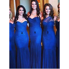 Trumpet/Mermaid Sleeveless Sweetheart One-Shoulder Tulle Bridesmaid Dresses